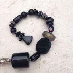 Handmade Black Purse Charm Gemstone Zipper by GypsiesBitsNBaubles