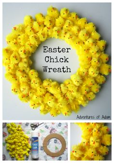 Easter Chick Wreath Craft Idea for Kids! Use Bostik Fast Tac spray glue to create this cute DIY Easter Chick Wreath. It makes a great Easter decoration. Glue small Easter chicks to a round piece of cardboard for a cheap and easy activity that'll keep Easter Projects, Easter Crafts For Kids, Bunny Crafts, Diy Projects, Kids Diy, Easter Bunny, Easter Eggs, Easter Chick, Easter Dyi