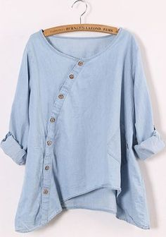 Blue Round Neck Long Sleeve Loose Denim Blouse - I like it but in a different fabric, maybe a soft cotton?