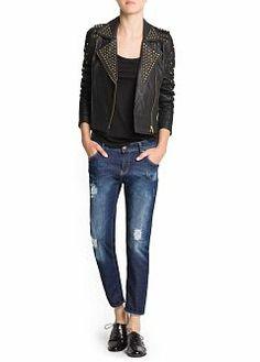 MANGO - CLOTHING - Jackets - Studded leather biker jacket