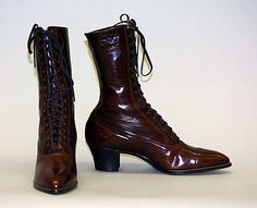 "Shoes: 1910, American, leather.    Marking: [label] ""Hanan & Son, New York"""
