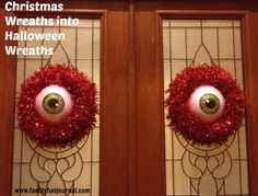 Take your Christmas wreaths, add scary eyeball masks from Target and create fun, inexpensive Halloween decorations!