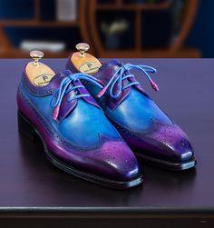 Paul Parkman Goodyear Welted Wingtip Derby Shoes Purple & Blue (ID Me Too Shoes, Men's Shoes, Shoes Men, Best Shoes For Men, Derby Shoes, Goodyear Welt, Luxury Shoes, Custom Shoes, Shoe Collection
