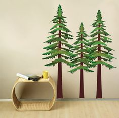 For a boy's wilderness theme nursery. Pine Trees Wall Decal by StudioWallDecals on Etsy, $110.00