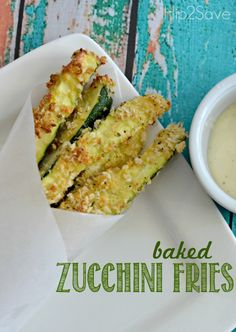 Baked zucchini fries--made these tonight and they were great!  I used italian bread crumbs instead of panko.