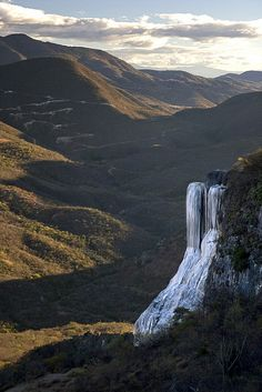 Petrified waterfall at Hierve el Agua in Oaxaca, Mexico  by nathangibbs, via Flickr.   One of the many places to visit in the stare where I was born!!