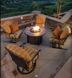 Silana Wrought Iron Deep Seating and Fire Pit by OW Lee. Classic Venetian scroll design combined with sturdy micro mesh foundation. Available from Rich's for the Home.