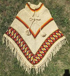 Vintage 1970's Knitted Hippie PONCHO with Fringe & Tassels-Iconic Retro 70's Cape