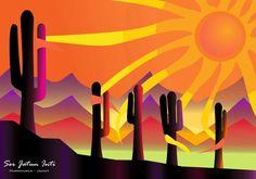 Rock Cactus, Sun Art, Arte Popular, Art Pictures, The Great Outdoors, Painted Rocks, American, Folk Art, Art Projects
