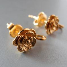 24k Gold Vermeil Earring Findings Flower Floral by PottyMouthGems