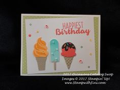 Cool Treats and the Frozen Treats Framelits Dies are part of the Cool Treats Suite of products found in the 2017 Occasions Catalog Birthday Cards, Happy Birthday, Sweetest Thing, Frozen Treats, Stamping Up, Card Ideas, Cupcake, Catalog, Greeting Cards