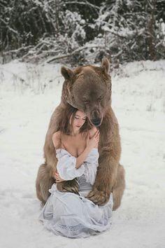 #character #scenario #woman #dark #brown #hair #bear #fantasy #snow