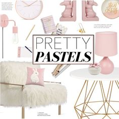 Pretty Pastel Home Decor by virginia-laurie on Polyvore featuring interior, interiors, interior design, ev, home decor, interior decorating, Axel, Slant, Tri-coastal Design and StudioSarah