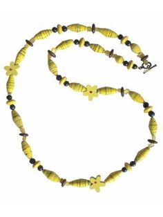 #fairtrade gift idea, paper bead necklaces made from recycled Skil tool brochures