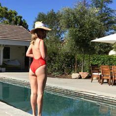 January Jones Swimwear Photo May 2017 January Jones, Swimming Outfit, Pool Days, Beautiful Celebrities, Panama Hat, Fashion News, Celebrity Style, Hot Girls, One Piece