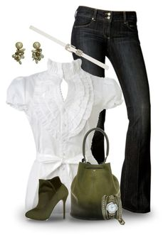 """""""Teacher"""" by xtina75 ❤ liked on Polyvore featuring Paige Denim, Wet Seal, Anya Hindmarch, Forever New, La Mer and Aquazzura"""