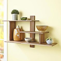 Shelves Pallet Modern Wall Shelf Woodworking Plan from WOOD Magazine - Here's a true weekend project; Build it on Saturday, apply finish on Sunday, and present it on Monday. Featured in WOOD Issue December/January Diy Furniture Plans, Woodworking Furniture, Pallet Furniture, Diy Woodworking, Woodworking Machinery, Modern Wood Furniture, Woodworking Organization, Intarsia Woodworking, Woodworking Magazine