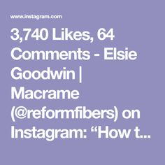 707 Likes, 24 Comments - Elsie Goodwin Macrame Knots, Macrame Jewelry, Clove Hitch Knot, Shameless Plug, Overhand Knot, Christmas Clay, Bead Embroidery Jewelry, Happy Friday, Things To Think About