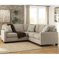 Show details for 2pc Beige Sectional with RAF Sofa