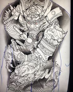 backpiece i sketched up for a client. Japanese Back Tattoo, Japanese Dragon Tattoos, Japanese Tattoo Designs, Japanese Sleeve Tattoos, Samurai Back Tattoo, Samurai Warrior Tattoo, Warrior Tattoos, Foo Dog Tattoo, Samurai Drawing