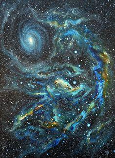 "vufus: "" ""Blue Space Nebula, Acrylic Artist: Candle Noel Cranston """