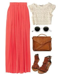 Coral maxi, lace cropped top and gladiators, love this outfit! Crop Top Outfits, Cute Outfits, Looks Style, Style Me, Look Fashion, Womens Fashion, Fashion Trends, Coral Fashion, Mode Pin Up