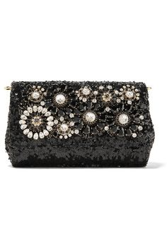 Black sequined leather Snap-fastening front flap Weighs approximately 2lbs/ 0.9kg Made in Italy