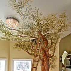 tree, drawing on the wall