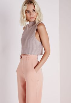 High Neck Ribbed Vest Mauve - Knitwear - Cropped Jumpers - Missguided