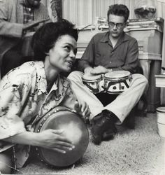 James Dean & Eartha Kitt at a party in NYC, 1954