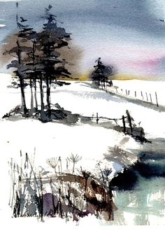 Original Watercolour Landscape Painting- Across the Top- Annabel Burton