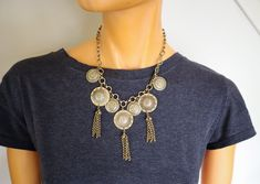 Victorian Brass Festoon Necklace | Antique Bib Chain Necklace | Medallions and Tassels