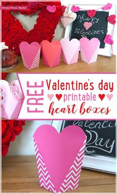 Free Valentine's day printable heart boxes - Press Print Party! Gift box, favor box, for school, DIY, ideas, party, galentine. #valentinesday