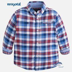 Camisa para niño MAYORAL de manga larga cuedros color tango
