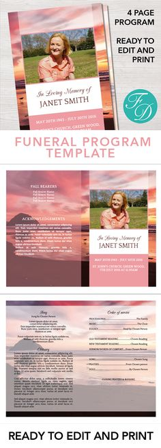 Funeral programs templates 236 best funeral programs for men pink flowers printable funeral program ready to edit print funeral programs templates pronofoot35fo Images
