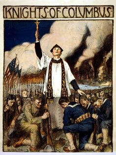 Knights of Columbus Kneeling in Prayer 1917 WWI Poster - Samuel Bible, Ww1 Posters, Political Posters, Political Cartoons, Kneeling In Prayer, Knights Of Columbus, Catholic Priest, Roman Catholic, Catholic Religion