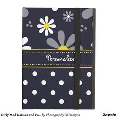 Girly Mod Daisies and Polka Dots With Name