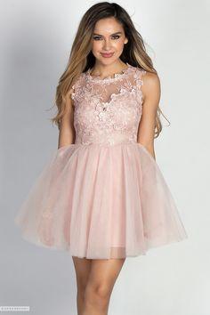 Short & Sweet Crochet Lace Bodice & Tulle Mauve Pink Party Dress