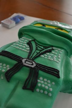 Ninjago cake  Lloyd the green ninja birthday cake
