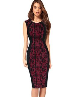 VfEmage Womens Elegant Print Optical Illusion Wear To Work Casual Pencil Dress 2018 Red 20 -- Details can be found by clicking on the image.