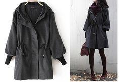 XS5XL Women Gray Wool Coat Long Jacket Long Sleeve by MordenMiss