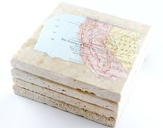 Handmade with ♥ for your home.  Coaster is decoupaged with a hand torn original {no reproductions} vintage map from a vintage atlas and sealed with