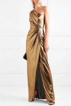 Marchesa Notte - One-shoulder Draped Lamé Gown - Gold Marchesa, Classy Dress, Classy Outfits, One Shoulder Dress Long, Golden Dress, Dress Hairstyles, Draped Dress, Ball Gowns, Evening Dresses
