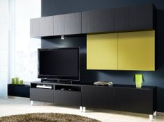 BESTÅ black-brown TV bench with doors/drawers and wall cabinets with black-brown/light green doors