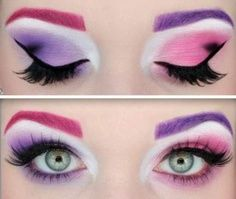 pink and purple eye makeup.... would be cute for Cheshire Cat costume too!!