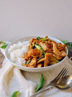 This spicy chicken stir-fry is perfection. With chicken, scallions, bamboo shoots, and a sauce that goes great over rice, you'll want to make it every week!