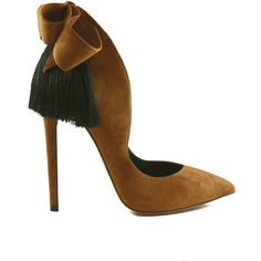 Izo Bow Pumps (Caramel Bow With Black Fringe) ($800) ❤ liked on Polyvore featuring shoes, pumps, high heel shoes, pointed high heel pumps, fringe pumps, high heeled footwear and black fringe shoes