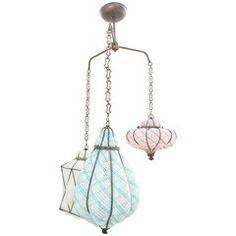 Seguso Trio of Caged Glass Pendant Lights