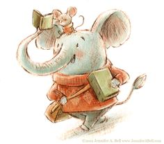 Elephant reading… illustration by Jennifer A. Elephant Illustration, Children's Book Illustration, Cartoon Illustrations, I Love Books, My Books, Bell Art, Reading Themes, Library Art, Book Images