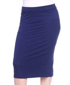 Navy Pencil Skirt - Plus Too